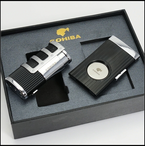 COHIBA Black&Silver Stainless Steel Cigar Lighter and Cutter Set(China (Mainland))