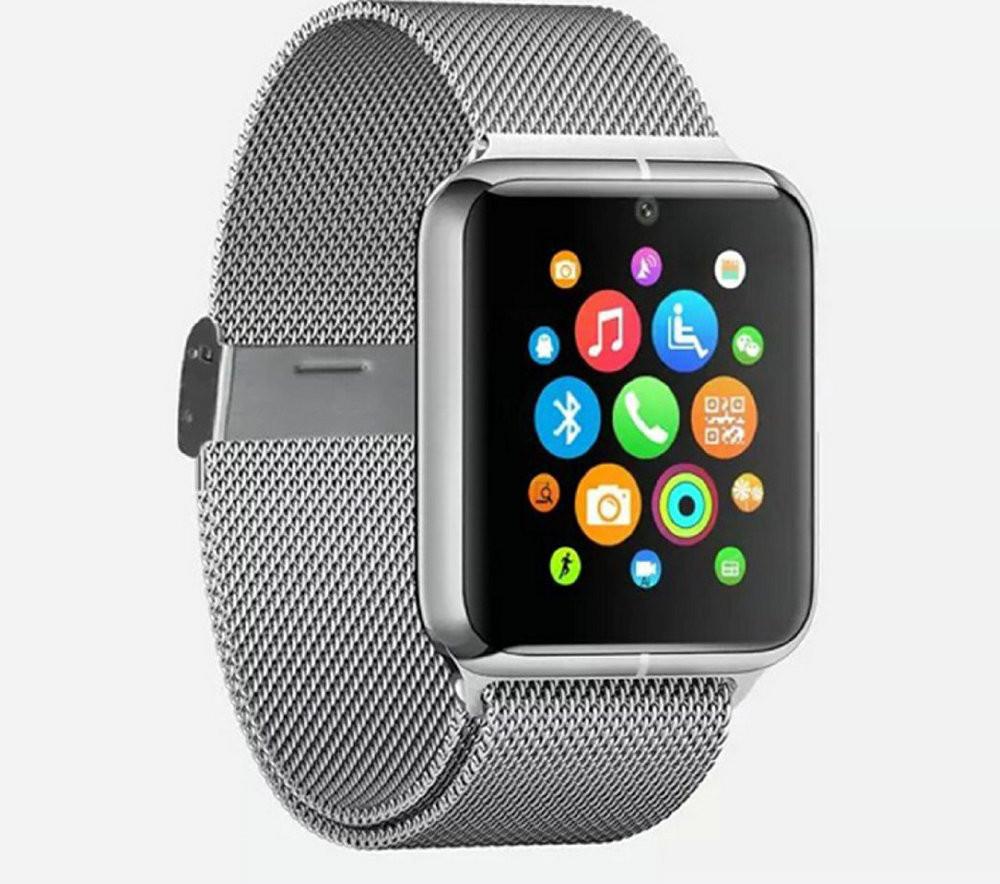ถูก เงินZ50โทรศัพท์นาฬิกาสมาร์ทบลูทูธระบบGSM NFC G-sensorกล้อง1ซิมPedometerอยู่ประจำที่เตือนโทรSMSซิงค์สำหรับสมาร์ทโทรศัพท์