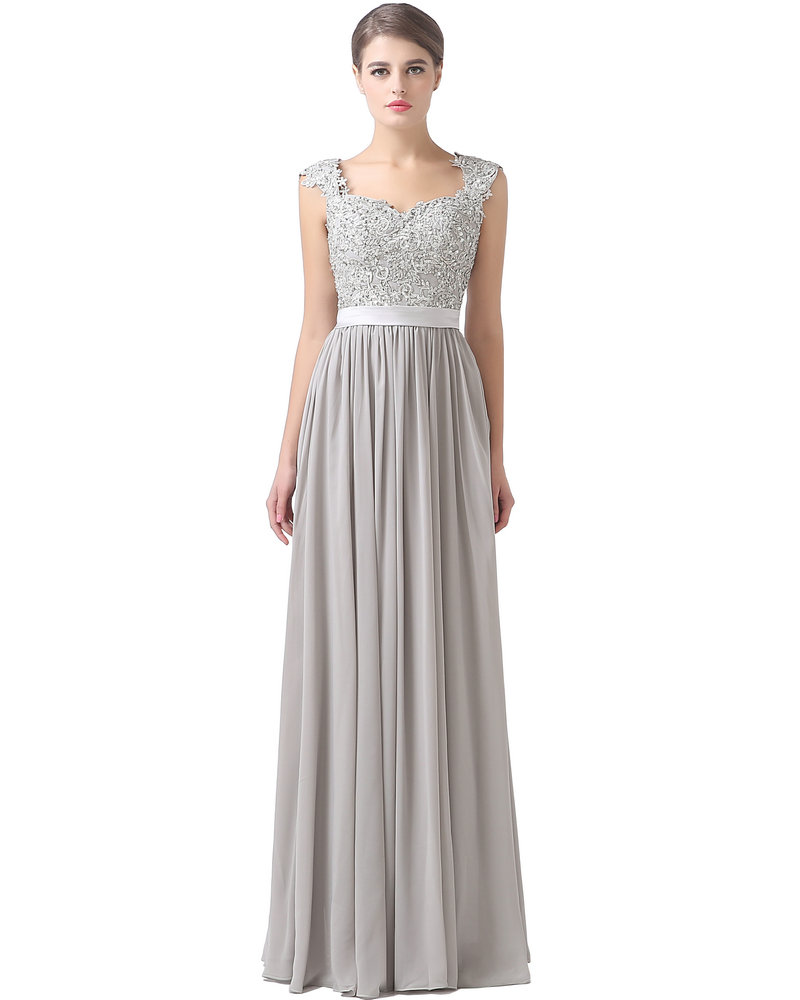 Cap sleeve lace and chiffon long bridesmaid dress 2016 for Lace wedding reception dress