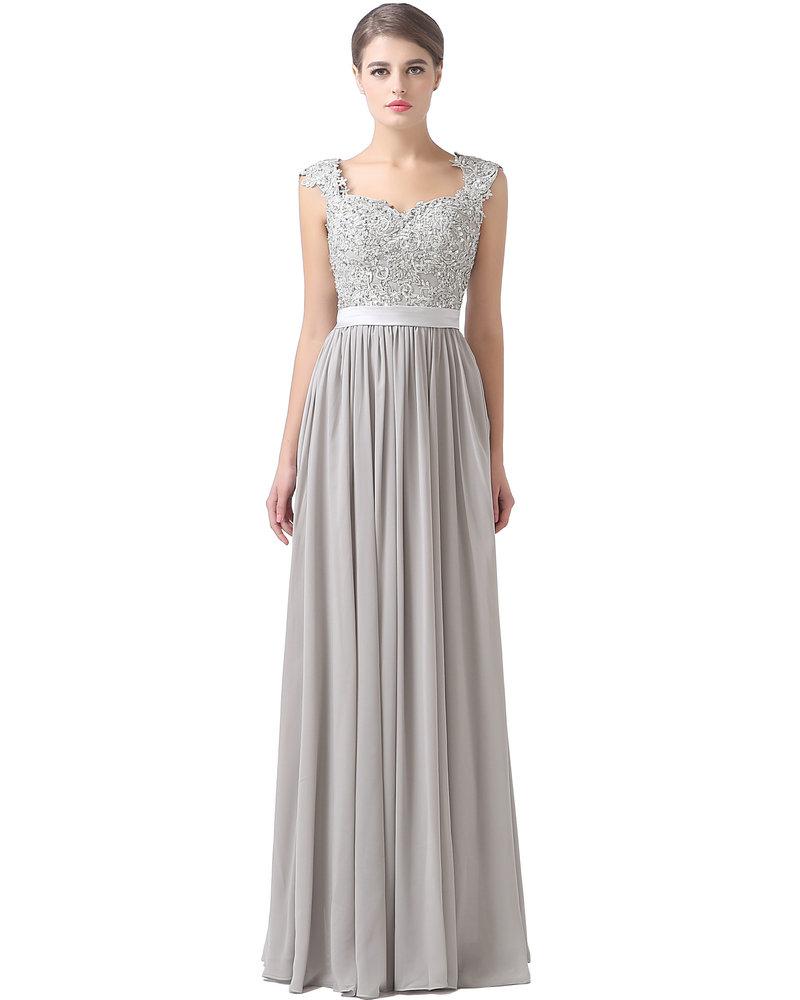 Cap Sleeve Lace and Chiffon Long Bridesmaid Dress 2016 ...