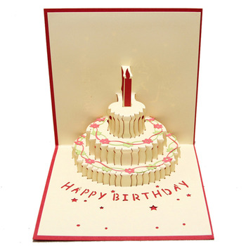 Birthday Cake 3D paper laser cut pop up handmade post cards custom gift greeting cards souvenirs party supplies 7003