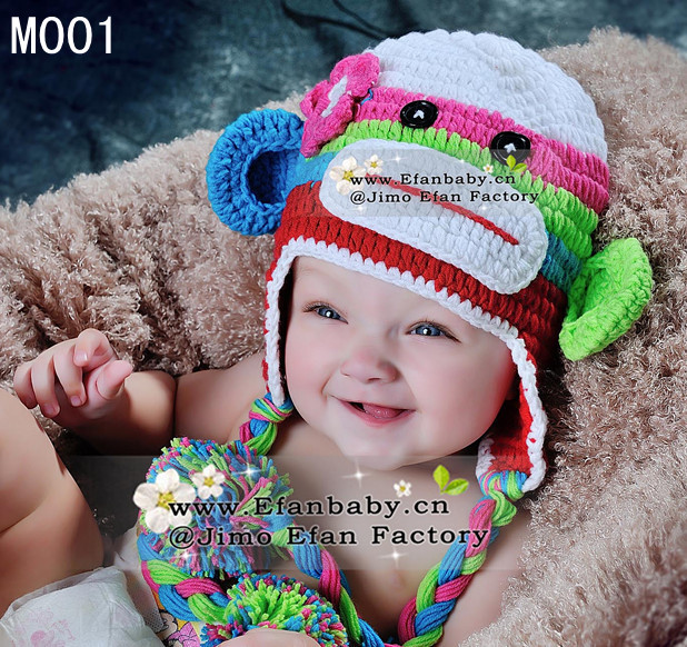 Free shipping 2013 hot sell crochet baby girls animal winter hat monkey designs beanie earflap caps photo props(China (Mainland))