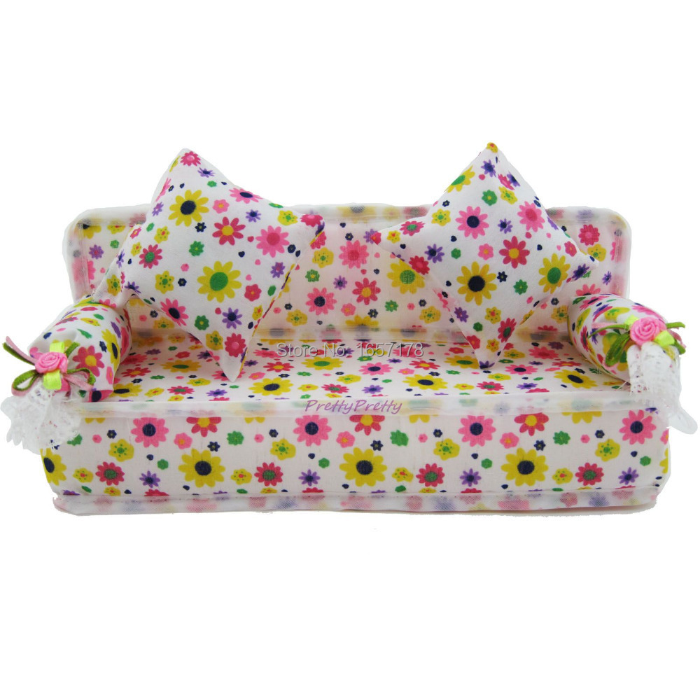 Free Shipping Mini Dollhouse Furniture Flower Cloth Sofa Couch With 2 Full Cushions For Barbie Doll House Toys Hot Selling(China (Mainland))