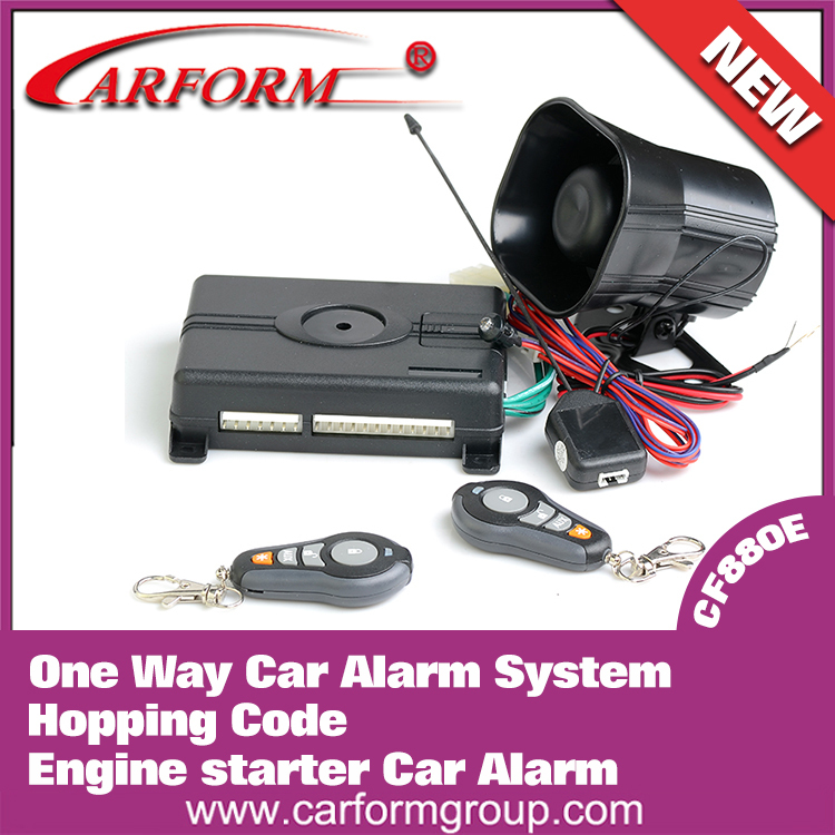 Free shipping One Way Car Alarm System 1-way Engine Start Hopping Code Remote Auxiliary outputs Multi-level security arming(China (Mainland))