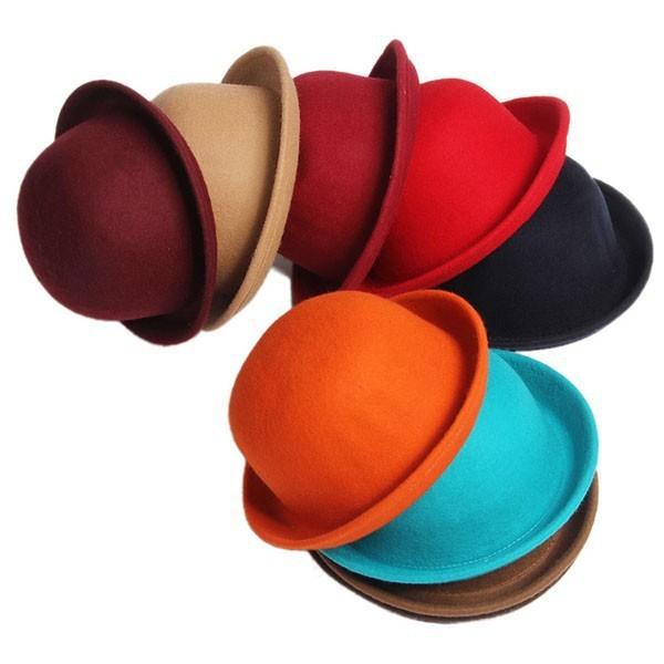 Зима шляпа винтажный кость леди милый дети модный шерсть войлок боулер дерби флоппи-бей мягкие фетровые шляпы шляпы для девочка и мальчик