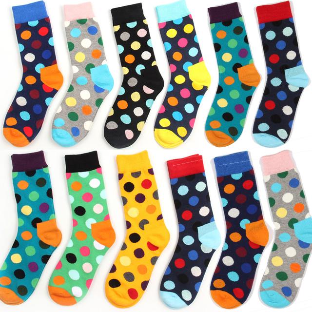 Мода мужчины марка счастливые носки хлопок красочный жаккардовые контрастного цвета ...