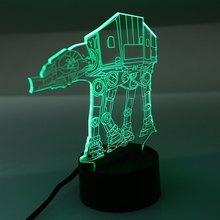 2016 Eco-friendly 3D Optical Illusion Millennium Imperial Walker AT-AT USB powered Lamp Mood Light with color flashing in turn(China (Mainland))