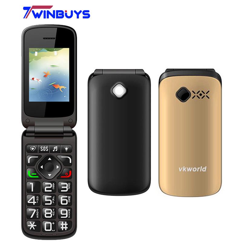 Original Vkworld VK Z2 Flashlight Mobile Phone 2.4 inch Qwerty Keyboard Long Standby Loud Sound FLIP Phone Old Man People Phone(Hong Kong)