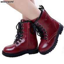 WEONEWORLD Niños Moda Otoño Invierno Botas Niñas Botas de Nieve Para Niños Zapatos de Los Niños Caliente Desgaste resistente al Desgaste de LA PU de Cuero zapatos(China (Mainland))