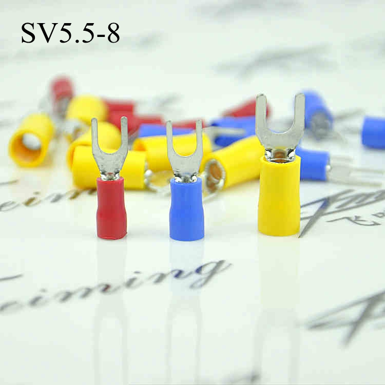 500pcs SV5.5-8 Insulated Cold pressed Terminals for Electrical Wiring Furcate Y/U shape crimp terminal Brass for AWG12-10(China (Mainland))