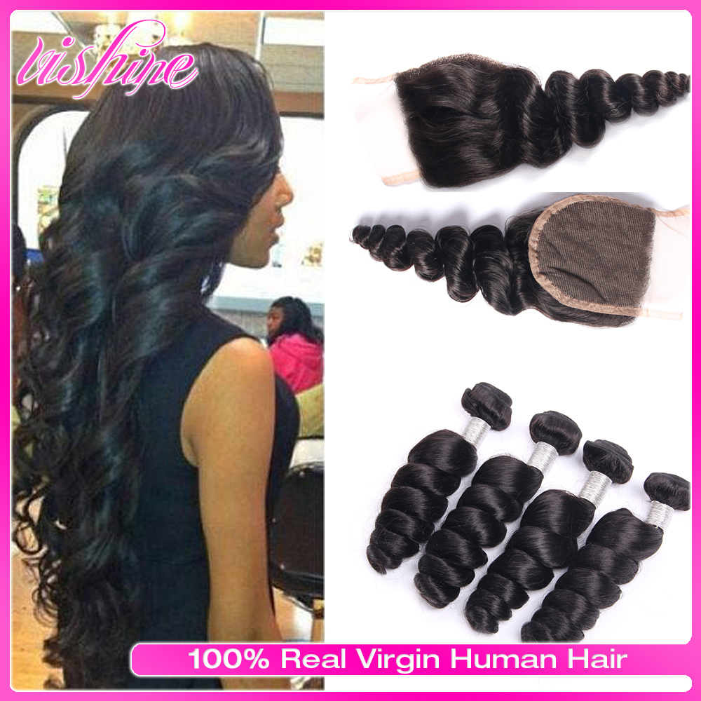 Vishine Loose Wave Brazilian Virgin Hair Lace Closure With4pcs Brazilian Human Hair Weave Bundles Loose Wave Rosa Hair Extention