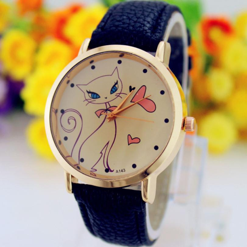 Hot Marketing  Fashion Women Faux Leather Strap Band Analog Quartz Wrist Watch Cat N1118<br><br>Aliexpress
