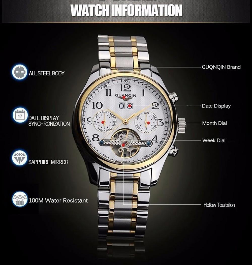 Guanqin мужчины календарь турбийон механические часы с помощью стальной ленты 10ATM рабочие двух суб-блестками суб-набор автоматические часы