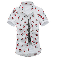 2015 New Spring Summer Style High Quality Men Polka Dot Floral Men shirt Male Casual Short sleeve Cotton Shirt Men's Clothes(China (Mainland))