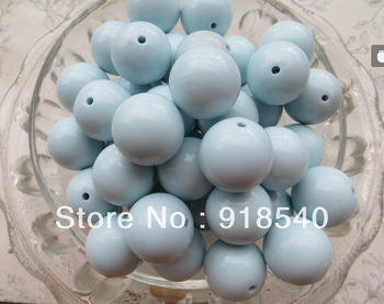 Wholesale Mint Blue Color  20MM 105pcs Big Chunky Gumball Bubblegum Acrylic Solid Beads , Chunky Beads for Necklace Jewelry
