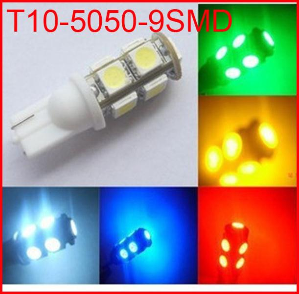100pcs/lot T10 LED 501 147 152 158 159 161 168 184 192 193 259 W5W194 T10 9SMD 5050 car 9 Led SMD 9led(China (Mainland))