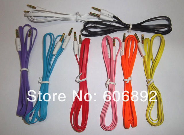 Wholesale 10pcs/lot 3FT 3.5mm Male M/M Stereo Plug Jack Audio Flat Extension Cable For Phone PC MP3+Free Shipping