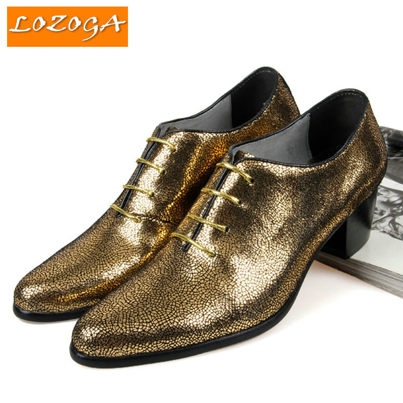 Фотография New mens shoes genuine leather shoes high quality wedding shoes luxury design glitter shoes gold and silver and blue large size