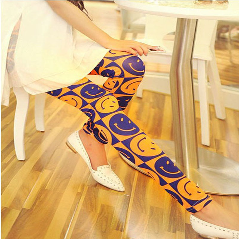 Fluorescence Pants Big Size Feet Graffiti Smiley Wild Bottoming Flower Pants Cheap Pencil Pants Elastic Waist Women's Clothing(China (Mainland))