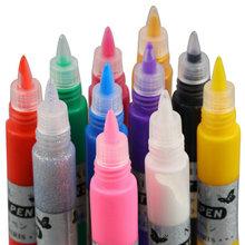 1set 12 Colors Professional Beautiful 3D Nail Art Paint Drawing Pen Acrylic Nail Art Polish Carved Pen Kit Set DIY nail tools(China (Mainland))