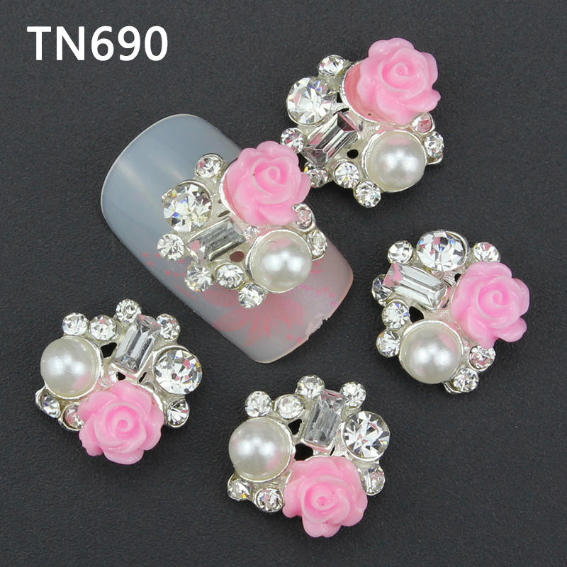 20pcs 3d pink drill nail jewelry charms decoration