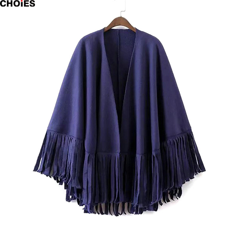 Women Solid Blue and Green Tassel Oversized Plain Wrap Loose Poncho 2016 Autumn Winter Women Casual Fashion Warm Scarves(China (Mainland))