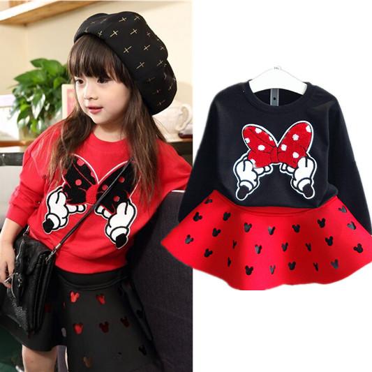 Гаджет  2015 New Fashion Girls Clothing Set Minnie T shirt + Skirt 2pcs/set dot bow point suit long-sleeved autumn kids free shipping None Детские товары