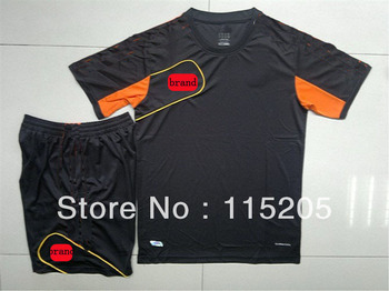 Newest  Best blank soccer training  uniform WITH BRAND, plain football  jersey,customized YOUR LOGO soccer equipment kits