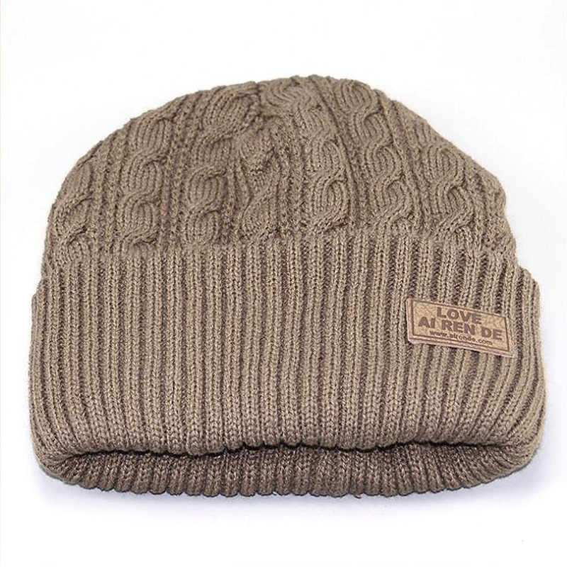 Winter Beanie Hats for Men Warm Hat Double Layers With Velvet Inside Z-1593()