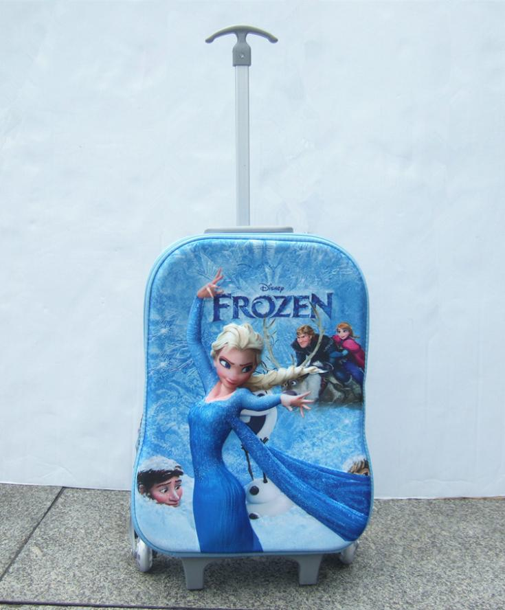 2015 elsa anna 3D stereo children girls luggage suitcase spot Pull rod box wholesale Compression school bags Christmas gift()