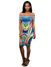 Adogirl New 2016 Slash Neck Dashiki Print Bodycon Dress Women Short Sleeve Split Party Midi Dresses Package Hip Vestidos
