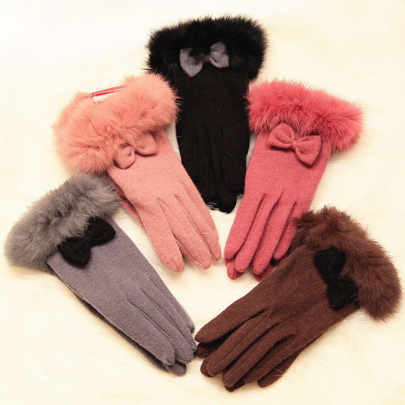 Winter Autumn Conny Hair Gloves Women Wool Cashmere Bow Tie Thermal Glove for Ladies Brown Coffee Pink Handschoenen Hand Warmer(China (Mainland))