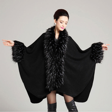 Winter New Fashion Long Wool Cashmere Lapel Ostrich Fur Coat Cloak Women Knitted Faux Fur Shawl Cape Party Overcoat Poncho 1100g(China (Mainland))