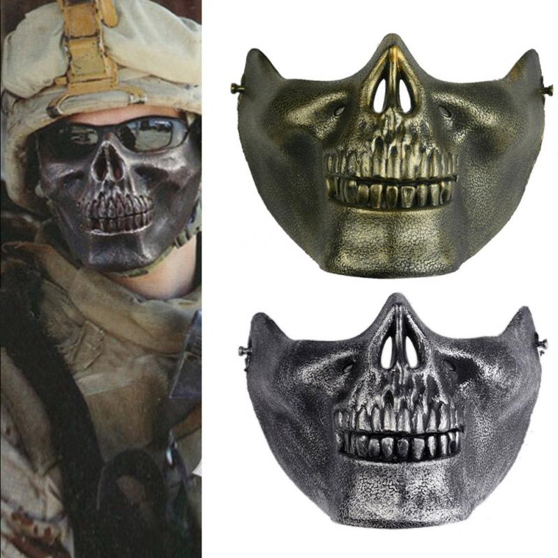 1 PC Skull Skeleton Gift Horror Fans Stage Props Airsoft Paintball Half Face Protective Mask For Halloween(China (Mainland))