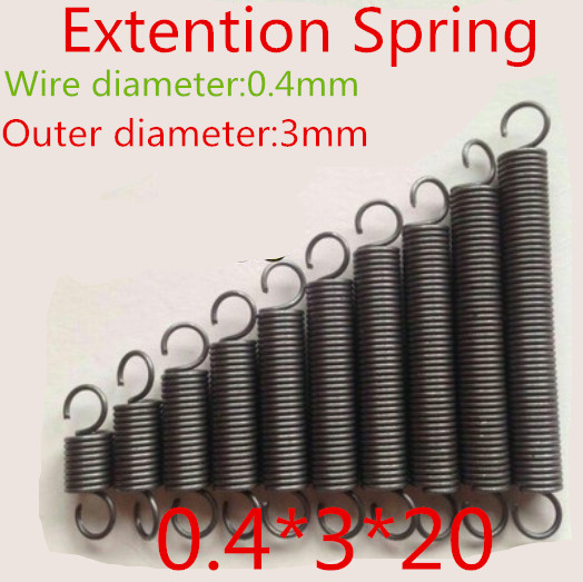 20pcs 0.4*3*20mm  Stainless Steel 304 Small coil extension spring with hook<br><br>Aliexpress
