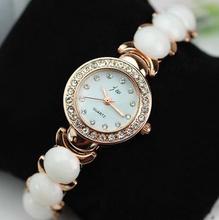 Golden Stainless Steel Band Analog Fashion Luxury Women's Dress Watch Diamond Jewelry Rhinestone Quartz Wristwatch Bracelet Gift(China (Mainland))