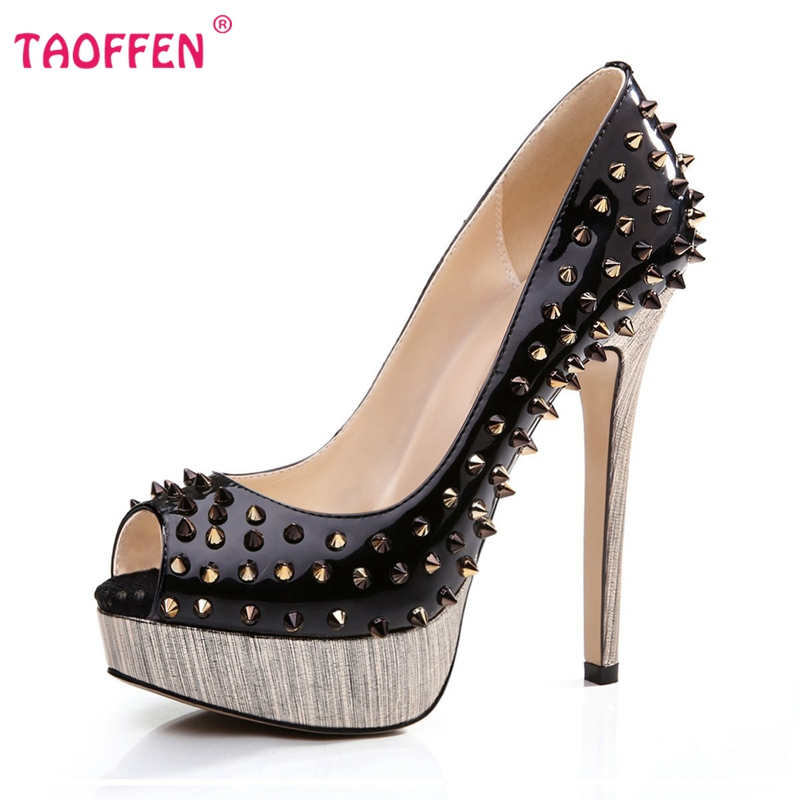 Фотография Women High Heel Shoes Brand Quality Platform Peep Open Toe Pumps Lady Fashion Sexy Gladiator Rivets Shoes Women Size 35-46 B072