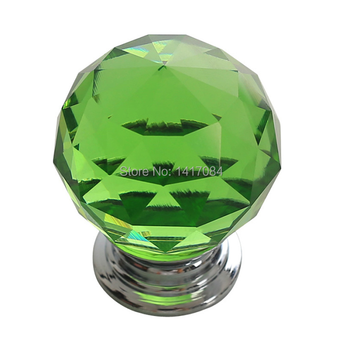 2PCS Green Crystal Diameter 30mm Cabinet Handles Knobs and Pulls Glass Drawer Pulls Knobs Furniture Kitchen Cabinet Door Handles(China (Mainland))
