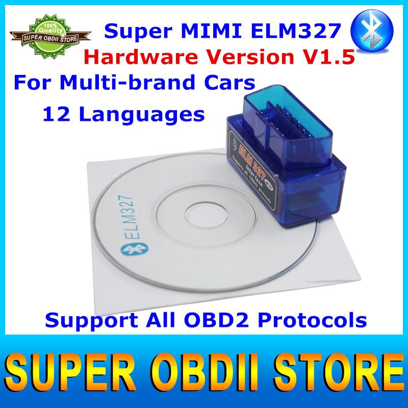Latest Version Mini ELM327 V1.5 Bluetooth OBD2 Scanner ELM 327 Auto Car Diagnostic Tool Works On Android / Windows XP(China (Mainland))