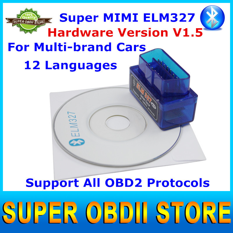 Latest Version Mini ELM327 V1.5 Bluetooth OBD2 Scanner ELM 327 Auto Car Diagnostic Tool Works On Android / Windows XP(China (Mainland))