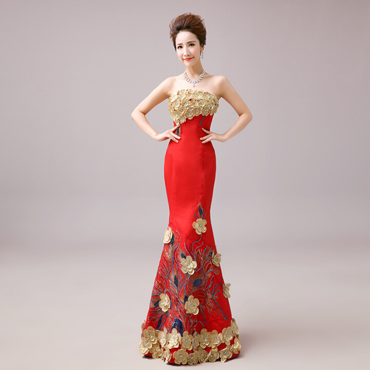 women red strapless bride night dress long special occasion floor length dresses evening wear 2016 pageant gown mermaid W2223(China (Mainland))