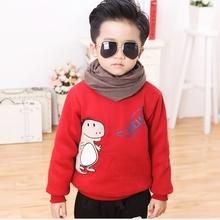 kid winter warm sweatshirts boys and girls plus thick velvet shirts baby cartoon dinosaur cute Hoodies Children's Clothing (China (Mainland))