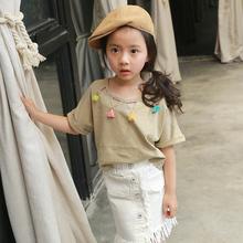 Buy Girls short-sleeved T-shirt 2017 summer new children's clothing girls fashion hollow collar short-sleeved T-shirt cotton for $11.99 in AliExpress store