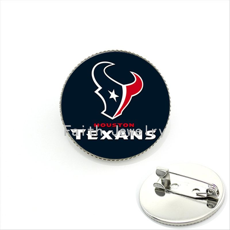 Trendy ball fans jewelry case for Houston Texans team Newest mix 32 NFL team brooches glass sports Team symbol brooch pins NF070(China (Mainland))