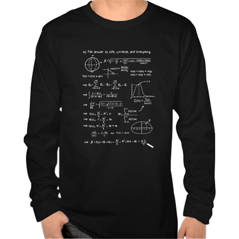 The Answer To Life Universe & Everything Math Physics Fomula Print Original Design Fashion Casual Cotton Long Sleeve t Shirt Tee(China (Mainland))