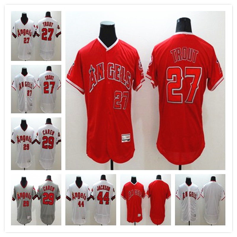 Men's Los Angeles of Anaheim 27 Mike Trout 29 Rod Carew Baseball Jerseys Home Road Alternate Flexbase Sewn Jersey(China (Mainland))