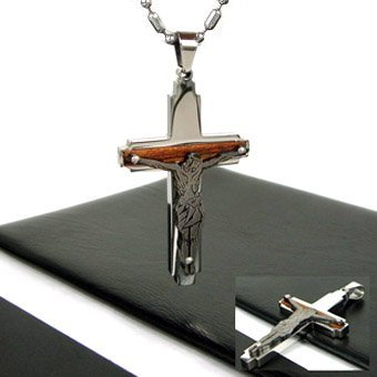 Wholesale 1pcs New Guaranteed 100% Men Christ Charm cross Pendants free Necklace + free shipping