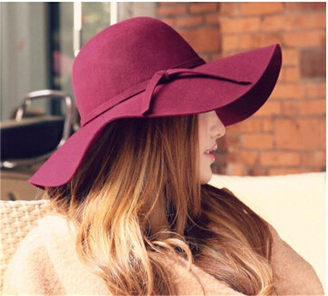 Special 6pcs/Lot 100% Wool Hats Ladies Floppy Woolen Felt Caps Women Winter Wide Brim Dome Hat Womens Fedora Cap for Spring