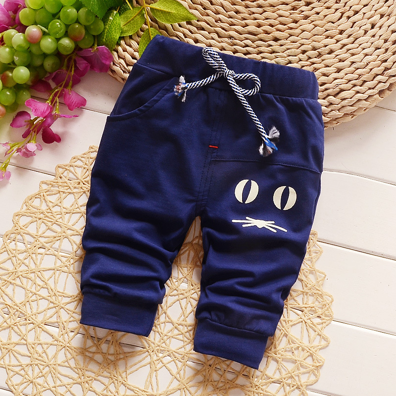 Baby girls boys sports pants 1-3 years old Cotton Casual lovely sute Long trousers Cartoon pattern Rubber belt European style S2(China (Mainland))