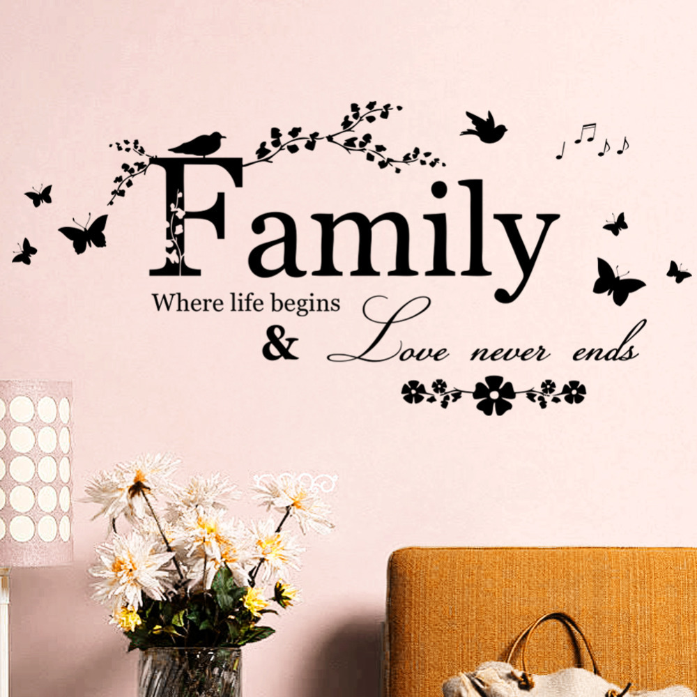 Wall Art Home Decor Love ~ Family love never ends quote vinyl wall decal